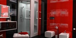 Червено и черно в интериора на банята